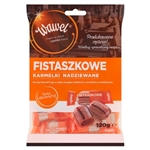 Caramels of characteristic shape with dark stripes, manufactured by hand, like in the past. Classic recipe of Fistaszkowe Filled Candies is a delicious peanut filling enclosed in sweet caramel.