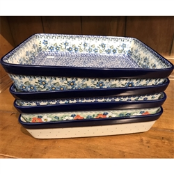 "Polish Pottery Stoneware Large Rectangular Bakers 12"" x 10"" x 3"". Hand made in Poland"