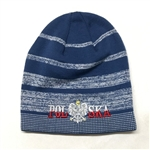 Display your Polish heritage! Blue stretch knit skull cap, which features Poland's national symbol the crowned eagle. Easy care acrylic fabric. Fully Lined. One size fits most. Imported from Poland.