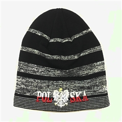 Display your Polish heritage! Black and grey stretch knit skull cap, which features Poland's national symbol the crowned eagle. Easy care acrylic fabric. Fully Lined. One size fits most. Imported from Poland.