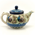 Beautiful teapot with a 30oz. capacity - 3.8 cups. A new folk design by master artist Monika Kuczynska!. Unikat Signature Series Pattern: U2664.