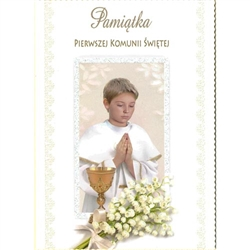 Polish First Communion Card - This card is beautifully embellished with shimmering detail around the frame and on the flowers that is appropriate for a boy.
