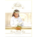 Polish First Communion Card - his card is beautifully embellished with shimmering detail around the wreath and on the flowers that is appropriate for a girl.