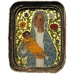 Painting on glass is an art technique by which the artist paints a picture on the reverse side of a glass surface. Magdalena Hniedziewicz specializes in religious themes and in particular the Madonna and Child. Each of her beautiful paintings is enclosed