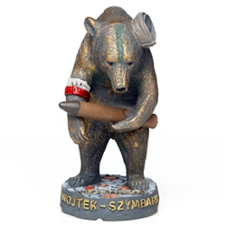 This is a replica of a statue in Szymbark, Poland of one of the Second World War's most unusual combatants – a 500-pound cigarette-smoking, beer-drinking brown bear. He is depicted here carrying an artillery shell, wearing a cap fashioned from an army