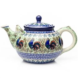 Beautiful large teapot with spout handle for pouring ease. Holds 1.8 liters (1.9 quarts).  A new folk design by master artist Maria Kuczynska!. Unikat Signature Series Pattern: U2664.