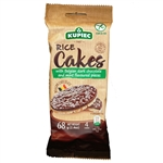 Super delicious rice cake covered on one side with rich Belgian dark chocolate (53%) sprinkled with mint flavoured pieces. 4 cakes to a package.