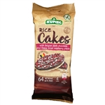 Super delicious rice cake covered on one side with rich Belgian dark chocolate (56%) sprinkled with freeze dried raspberry pieces. 4 cakes to a package.