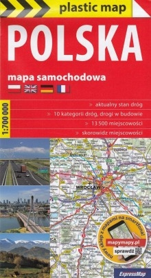 With a plasticized paper folding road map, Polish travel around the country will be a real pleasure. Includes: Road conditions in 2019, motorways under construction, express and national roads 10 categories of roads, motorways and expressways with
