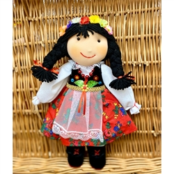 "Hand Made Cuddly Krakowianka Doll 12"" tall.  ​Small decorations - Not for children under 3 years old. Made In Poland."