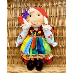 "Hand Made Cuddly Lowiczanka Doll 12"" tall. ​Small decorations - Not for children under 3 years old. Made In Poland"