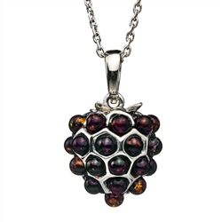"A beautiful cherry amber berry shaped pendant.  Pendant size is approx. .6"" diameter."