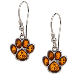 "Sterling silver and amber paws. Size approx 1.25"" x .5""."