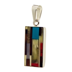 "Hand made with sterling silver detail. Beautiful mosaic of amber, red agate and turquoise. Size is approx 1.25"" x .5"""