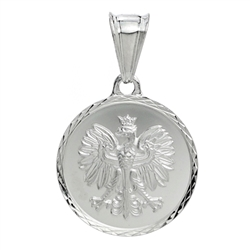"Sterling silver Polish eagle medallion.  Size is .75"" diameter and 1"" high with the finding.  Made In Poland"