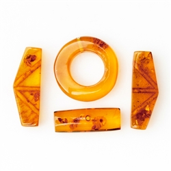 Jewelry makers will enjoy these 4 parts to finish your own bracelet. Genuine Baltic Amber.