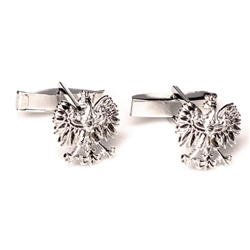 "Beautiful pair of thin silver cuff links featuring the Polish Eagle.  Eagle size is approx .5"" x .5"""