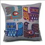 "Beautiful stuffed folk design pillow. 100% polyester and made in Poland. Back side of the pillow is solid black. Zipper on one side for convenient cleaning. ​Size 14"" x 14""."