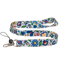 The folk lanyard features a a beautiful Kashubian blue floral design.