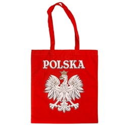 "Red 100% cotton tote bag made in Poland. Size approx 14.4"" x 16"" not including the handles. Handles are 11"" long."