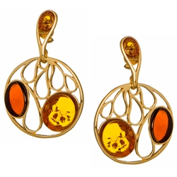 "Artistic Multi Color Amber And Gold Vermeil Earrings. Size is approx 1.25"" x 1""."