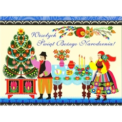 A beautiful glossy Christmas card featuring a couple in Polish Lowicz folk custumes preparing their home for Wigilia.