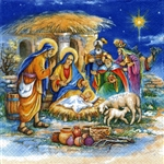"Polish Luncheon Napkins (package of 20) - ""The Nativity"". Three ply napkins with water based paints used in the printing process."