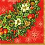 "Polish Luncheon Napkins (package of 20) - ""Holiday Wreath"". Three ply napkins with water based paints used in the printing process."