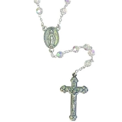 6mm Aurora Borialus finish Tin Cut Crystal Rosary Beads with Silver Tone Cross and Center