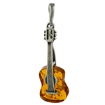 "Baltic amber with sterling silver detail. Our musical instrument is approx 1.5"" x .5""."