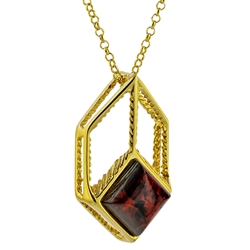 "Gold plate over sterling silver artistic pendant with a beautiful cherry amber cabochon square. Pendant size is approx. 1"" x .5"". Chain size is 16"" - 18"" adjustable."