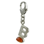 "Sterling Silver And Amber Letter B Charm. Size is approx 1"" x .25""."