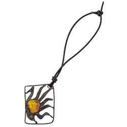 "Artistic amber pendant/charm set in a metal frame. We string these on a 4"" removable leather cord.  These are hand made so the design will vary slightly.  Frame size is approx 1.75"" x 1.25'."