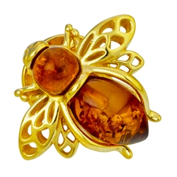 "Super cute honey bee in amber and gold vermeil. Size is approx .75"" x .5"""