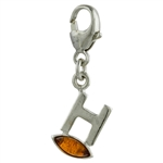 "Sterling Silver And Amber Letter H Charm . Size is approx 1"" x .25""."