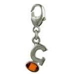 "Sterling Silver And Amber Letter G Charm . Size is approx 1"" x .25""."