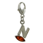 "Sterling Silver And Amber Letter N Charm . Size is approx 1"" x .25""."