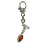 "Sterling Silver And Amber Letter T Charm . Size is approx 1"" x .25""."