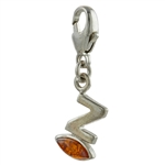 "Sterling Silver And Amber Letter Z Charm . Size is approx 1"" x .25""."