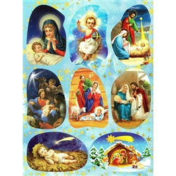 "Set of 8 Religious Christmas stickers some with Polish themes. Sheet size is 6.25"" x 4.5"""