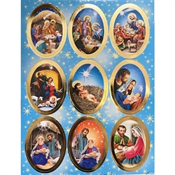 "Set of 9 Religious Christmas stickers. Sheet size is 6.25"" x 4.5"""
