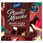 Ptasie Mleczko , Made by Poland's most famous confectionery company, E. Wedel. Bird's milk candy has a marshmallow like center and is covered with a thin layer of dark chocolate. This Polish specialty is available in vanilla, chocolate or lemon flavor.
