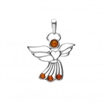 "Adorable sterling silver and amber angel pendant is approx 1.25"" x 1""."