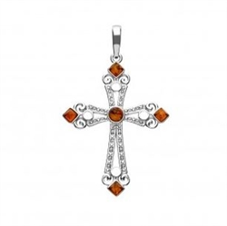 "Sterling silver cross with Baltic Amber detail.  Size is approx 1.75"" x 1.1"""