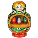 "Hand painted wooden  matrushka doll with a musical movement playing ""Midnight In Moscow""  The girls inside revolve in a circle. Wind the movement