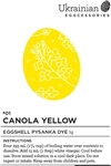 "Non-edible chemical dye. This nice bright ""Canola Yellow"" pysanka dye covers well and does not have an oily feel. Canola Yellow is often the first dye colour used on a pysanka."