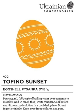 Non-edible chemical dye. Tofino Sunset (orange) dye covers the egg well and is a wonderful dye to follow Canola Yellow... however please note that our orange dye needs vinegar.  Because it uses vinegar, it is not recommended to use as a wash back dye.