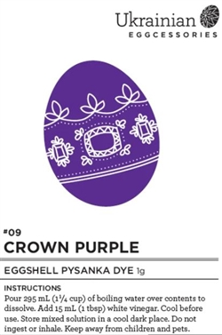Non-edible chemical dye. Crown Purple eggshell dye is a strong stunning dye colour that is best used as a last colour dip for your pysanka design. Glacier Turquoise, Borealis Green or Sweetgrass as well as Yukon Gold or Tofino Sunset would all look wonder