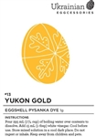 Non-edible chemical dye. Yukon Gold is a great first colour for your pysanka. It's a richer yellow than Canola Yellow and brings a true depth to your pysanky designs. Though it isn't a true gold, it looks like it has specks of gold in the dye bath. This d