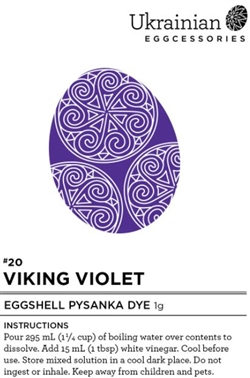 "Non-edible chemical dye. This ""Viking Violet"" is a brilliant fast taking dye that turns a bit more blue when varnished. It's one of those dyes that is beautiful and powerful! It's an amazing last dye and goes very well with Canola Yellow, Monarch Orange,"